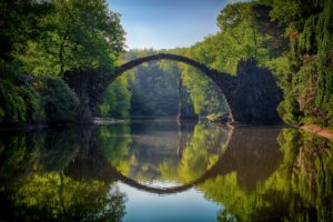 Photo of a bridge crossing a river surrounded by trees